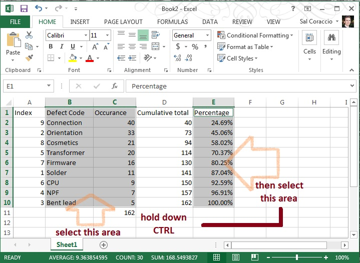 how to make a pareto chart in excel 2013